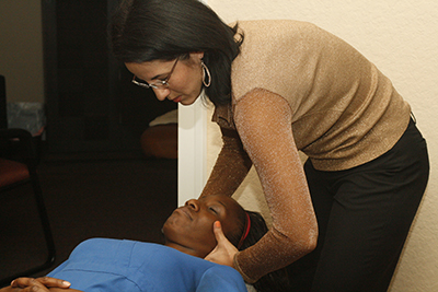 Dr Coltte adjusting a patient